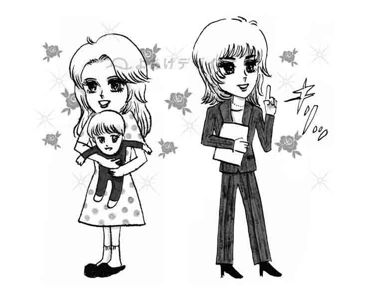 レトロな少女漫画風のイラスト01