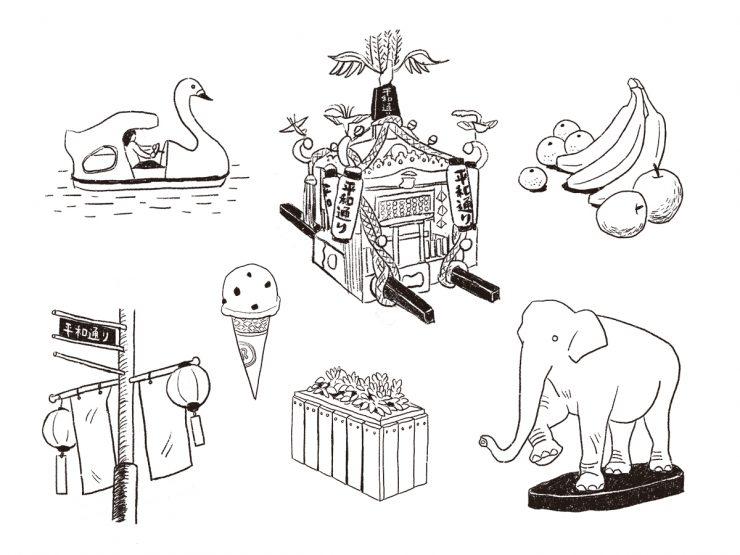 スワンボートや象、おみこし