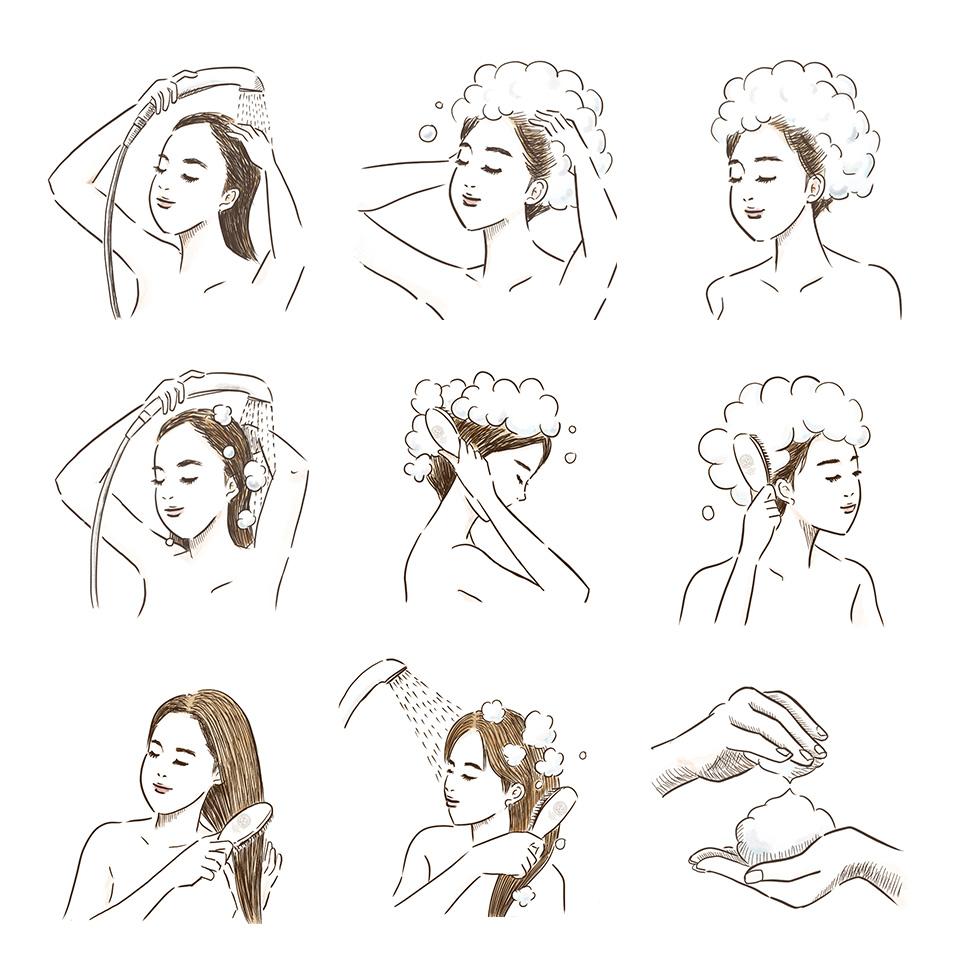 シャンプーする女性のイラスト